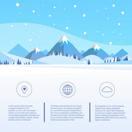 snow: Winter Mountain Forest Landscape Background, Pine Snow Trees Woods Flat Vector Illustration