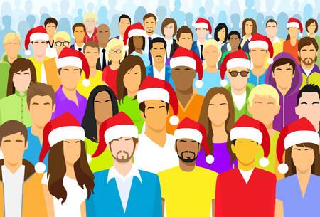 multi ethnic group: Christmas Group of People Wear Santa Hat Big Crowd New Year Diverse Ethnic Flat Vector illustration Illustration