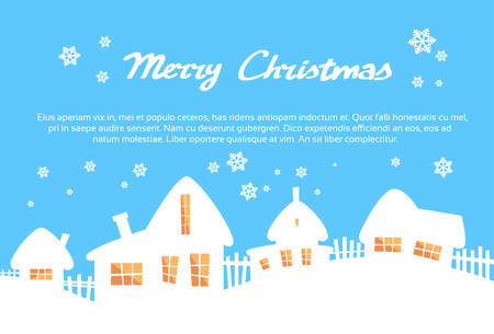 village: White House Village Silhouettes Yellow Window Light Blue Sky Merry Christmas New Year Card Flat Vector Illustration