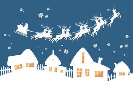 renna: Babbo Natale in slitta renne volare Cielo sopra illustrazione Casa Natale New Year Card vettore