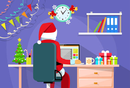 cartoon hat: Santa Claus Sitting Desk Using Laptop Internet Back Rear View Christmas Holiday Flat Vector Illustration