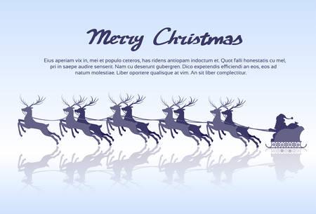 blue santa: Santa Claus Sleigh Reindeer Silhouette Christmas New Year Card Vector Illustration