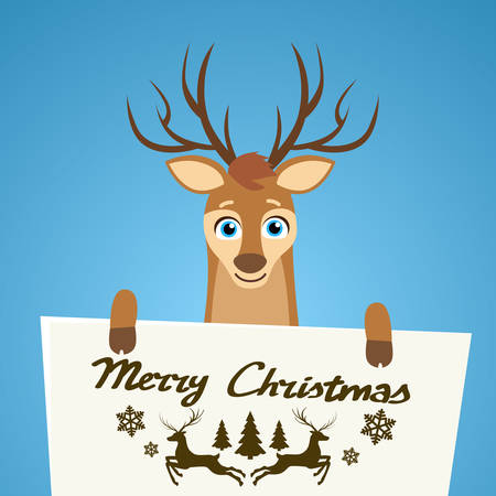 helper: Merry Christmas Reindeer Cartoon Character Poster Santa Helper Greeting Card Hold Placard Sign Board Blank with Copy Space Flat Vector Illustration