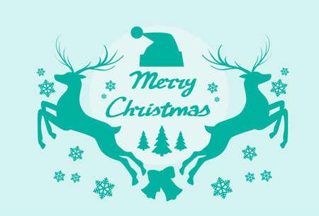 reno: Ilustraci�n del reno Silueta Mery Christmas poster plana vectorial Vectores