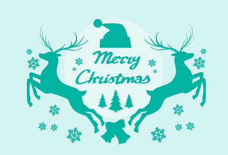 reindeer silhouette: Reindeer Silhouette Mery Christmas Poster Flat Vector Illustration