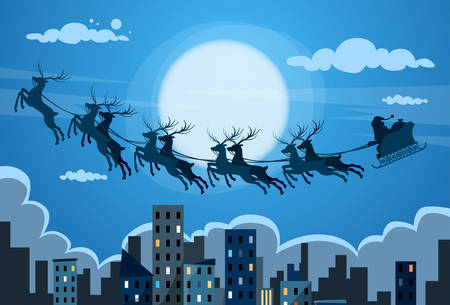 fly: Santa Claus Sleigh Reindeer Fly Sky over City Skyscraper Night View Cityscape Snow Skyline Christmas New Year Card Vector Illustration