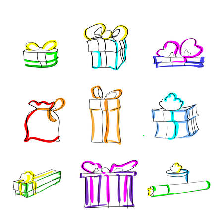 Gift Box Present Sketch Hand Draw Thin Line Colorul Icon Set Collection Flat Vector Illustration