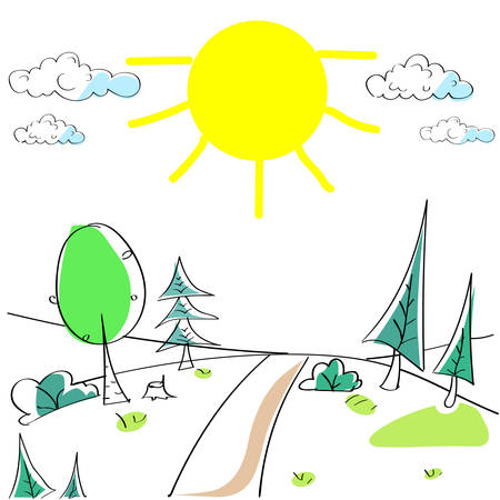 country road: Summer Landscape Mountain Forest Road Sun Green Grass Tree Woods Sketch Simple Line Child Hand Drawing Vector Illustration