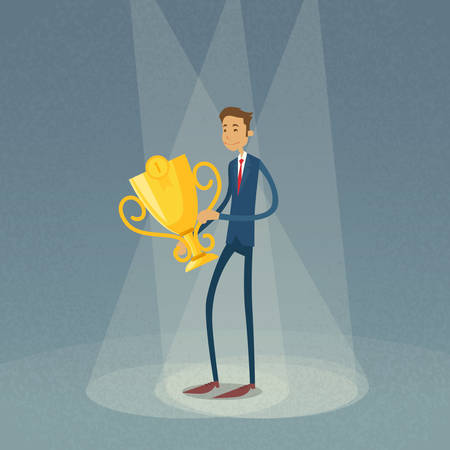 1 place: Businessman Hold Winner Cup First 1 Place Flat Retro Vector Illustration