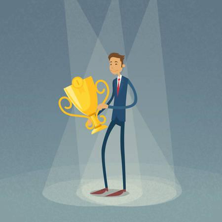 1 place: Empresario Hold Ganador Ilustraci�n Copa Primera 1 Place Flat retro vector