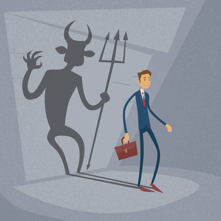demonio: Hombre de negocios con la pared del demonio sombra detrás de la ilustración de negocios del concepto de vector