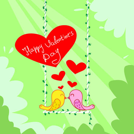 two birds: Two Birds Couple Kiss Sitting on Swing Red Heart Happy Valentine Day Greeting Card Vector Illustration