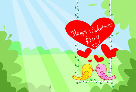 couple kiss: Two Birds Couple Kiss Sitting on Swing Red Heart Happy Valentine Day Greeting Card Vector Illustration
