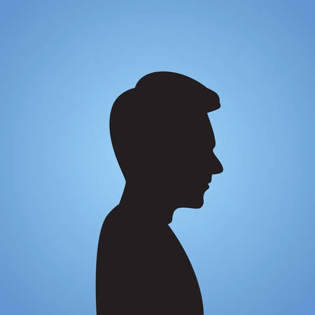 male face: Businessman Side Head Silhouette Black Business Man Isolated Blue Background Vector Illusration Illustration