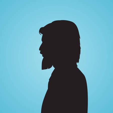 black business man: Businessman Side Head Beard Silhouette Black Business Man Isolated Blue Background Vector Illusration Illustration