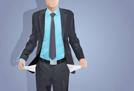 Businessman Show Empty Pocket, Turning Inside Out No Money Flat Vector Illustration