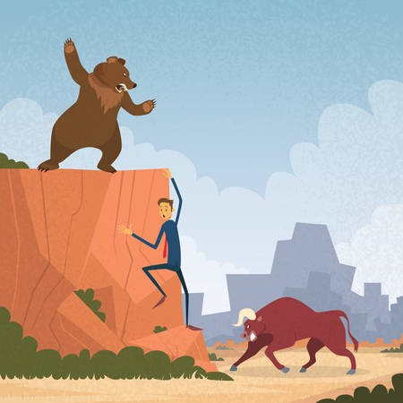 financial cliff: Stock Market Trader Concept Bull and Bear Fight Trend Business Man Climb Rock Flat Vector Cartoon Illustration