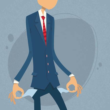 broke: Businessman Show Empty Pocket, Turning Inside Out No Money Flat Vector Illustration