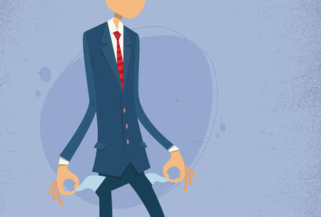 empty pocket: Businessman Show Empty Pocket, Turning Inside Out No Money Flat Vector Illustration