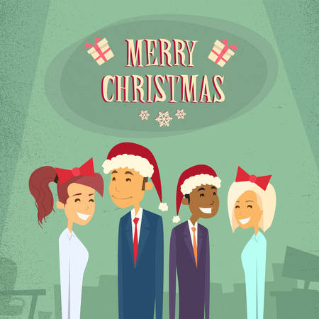 retro wear: Businesspeople Wear Santa Hat Merry Christmas And Happy New Year Office Business People Team Flat Retro Concept Vector Illustration Illustration
