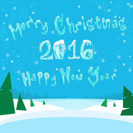 happy new year banner: Merry Christmas and Happy New 2016 Year Banner Ice Frozen Snow Vector Illustration
