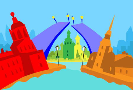 saint petersburg: Saint Petersburg Russia Abstract Skyline City Skyscraper Silhouette Flat Colorful Vector Illustration