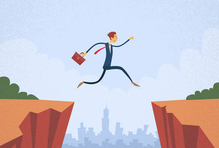 dangerous work: Businessman Jump Over Cliff Gap Mountain Flat Retro Vector Illustration