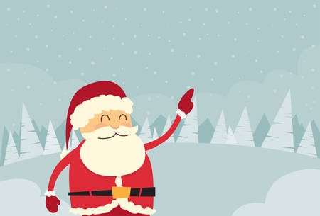 cartoon christmas eve: Santa Claus Point Finger Copy Space Winter Snow Forest Christmas Holiday Sale Flat Vector Illustration