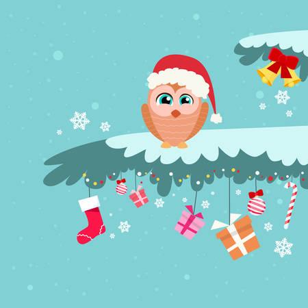 winter tree: Christmas Owl Sitting on Tree Branch Winter Flat Vector Illustration