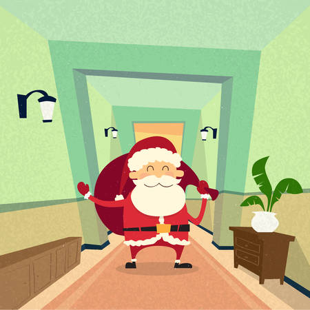 house of santa clause: Santa Claus Indoor Home Happy New Year Merry Christmas Retro Flat Vector Illustration