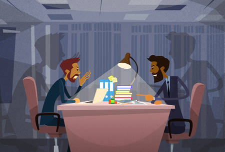 colleagues: Two Angry Business Man Agruing Talking, Businessmen Chat Sitting Office Desk Concept Communication Problem Flat Vector Illustration