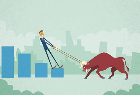 angry bull: Businessman Inverstor Shares Market Trader Hold Bull Push Up Stock Exchange Concept Finance Business Broker Graph Vector Illustration