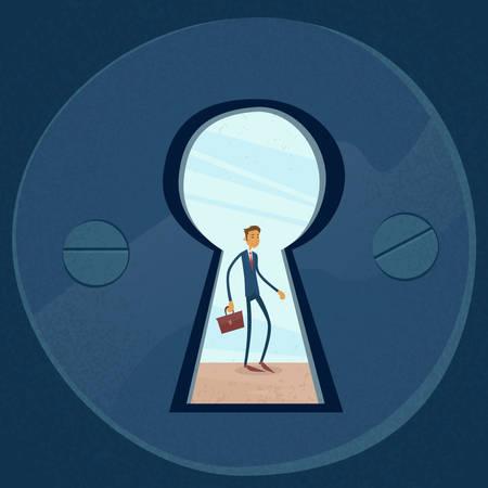 view through door: Keyhole Businessman Concept View Through Door Hole Vector Illustration
