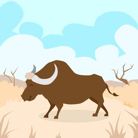 desert sand: Cartoon Bizon Desert Sand Buffalo Colorful Flat Retro Vector Illustration Illustration
