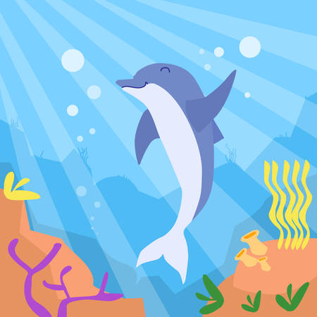 deep ocean: Cartoon Dolphin Underwater Deep Ocean Bottom Coral Reef Colorful Flat Retro Vector Illustration