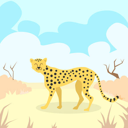desert sand: Cartoon Cheetah Desert Sand Colorful Flat Retro Vector Illustration