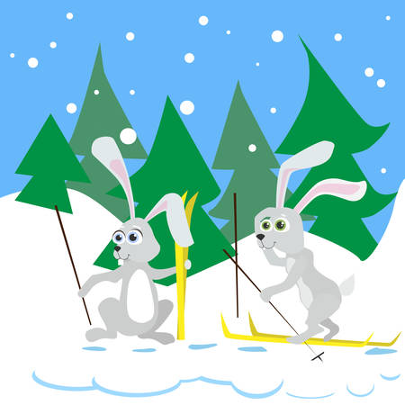 snow forest: Two Rabbit Ski Winter Snow Forest Vector Illustration