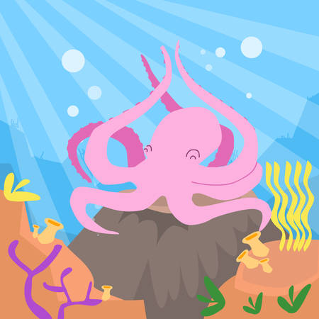 bottom: Cartoon Pink Octopus Underwater Deep Ocean Bottom Coral Reef Colorful Flat Retro Vector Illustration
