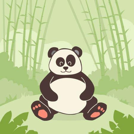 oso panda: Cartoon Panda Oso Sentado Green Bamboo Jungle Bosque colorido Ilustraci�n plana retro vector