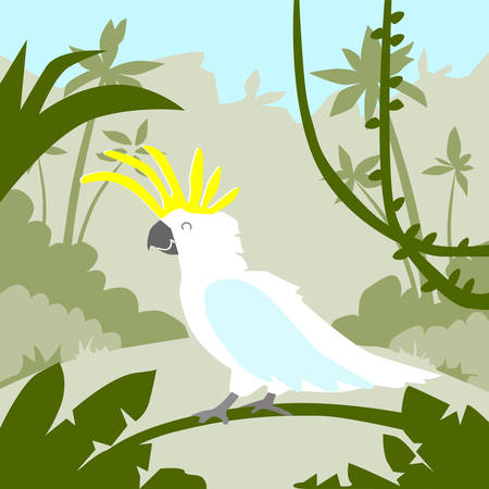 cockatoo: Parrot White Cockatoo Sitting on Tree Branch Tropical Jungle Flat Vector Illustration Illustration