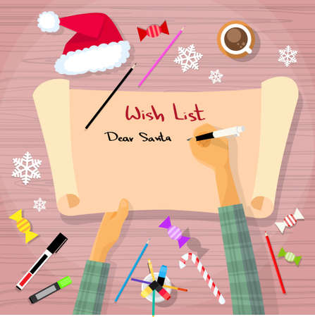 write letter: Merry Christmas Wish List To Santa Clause Child Hand Writing Pen on Paper Desk Flat Vector Illustration