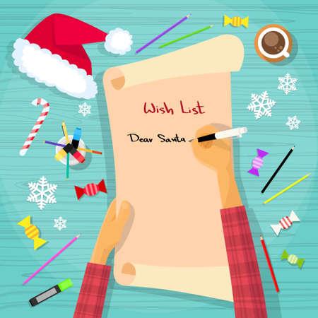 pergamino: Feliz Navidad lista de objetivos a Santa Claus Niño mano pluma de la escritura en el escritorio de papel ilustración vectorial Flat