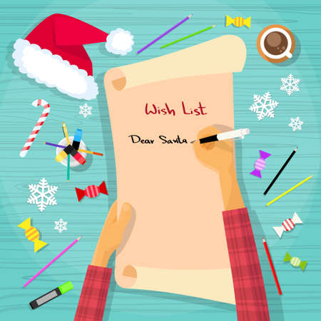 red hat: Merry Christmas Wish List To Santa Clause Child Hand Writing Pen on Paper Desk Flat Vector Illustration