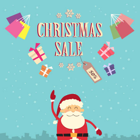 clause: Santa Clause Point Finger Up Christmas Sale Show Gift Box Present Retro Flat Vector Illustration
