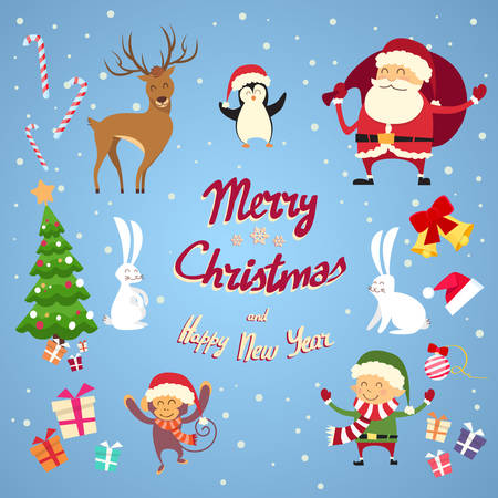 Santa Clause Christmas Elf stripfiguur Set Collection Flat Vector Illustration