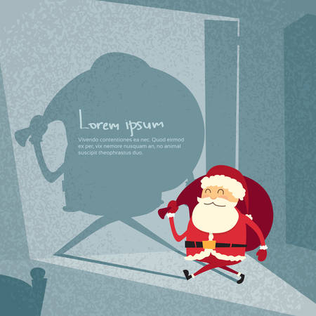 house of santa clause: Cartoon Santa Claus Happy New Year Merry Christmas Shadow Silhouette Open Door Retro Shape Flat Vector Illustration Illustration