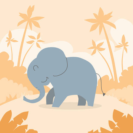 head silhouette: Cartoon Elephant African Colorful Flat Retro Vector Illustration Illustration