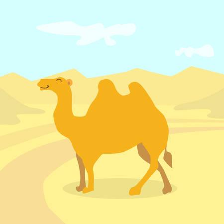 cartoon camel: Cartoon Camel Desert Colorful Flat Retro Vector Illustration