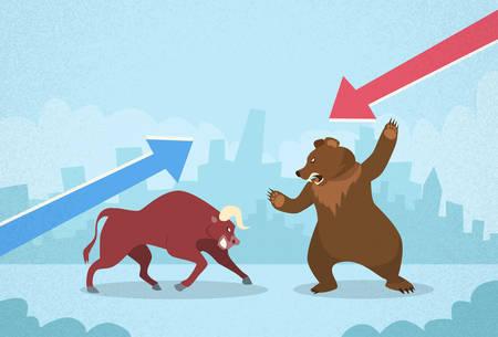 bolsa de valores: Bull vs Oso Bolsa Concepto Finanzas Gráfico de negocio Vectores