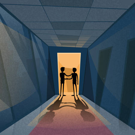 corridor: Handshake Business Hands Shake Black Deal Concept Businessman Silhouette Dark Office Room Light From Doors Corridor Hallway Flat Vector Illustration